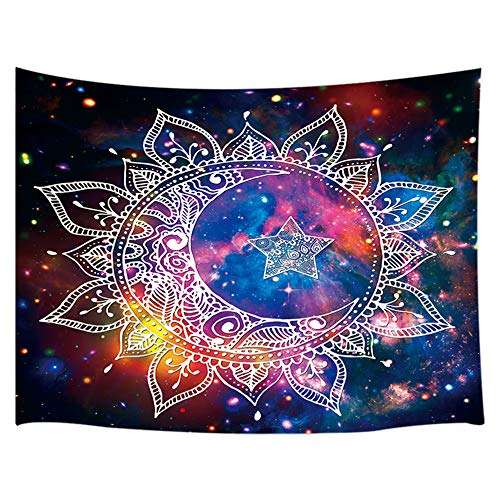 JAWO Mystic Hippy Tapestry, Psychedelic Celestial Starry Sky Watercolor Moon and Star Wall Tapestry, Boho Bohemian Wall Art Hanging for Bedroom Living Room Dorm 71X60Inches Wall Blankets