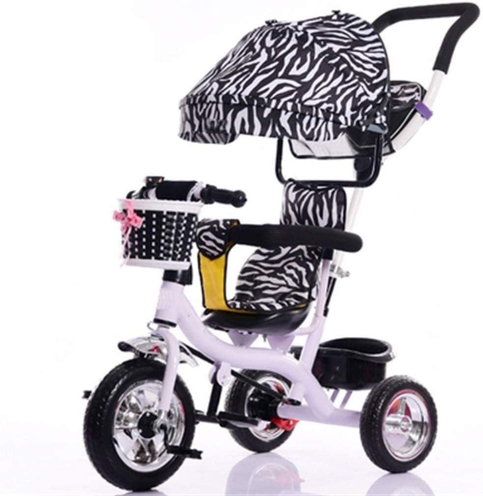 JINHH Pequeño Triciclo, Carriage Niños Interiores Y Exteriores Sólidas Ruedas De Plástico De Bicicletas 7 Meses -6 Bebé De Los Años De La Carretilla con El Toldo De Espuma De Freno De Rueda