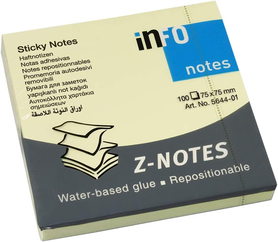 Global Notes 5644-01 - Notas adhesivas, 75 x 75 mm, 100 x 12, color amarillo