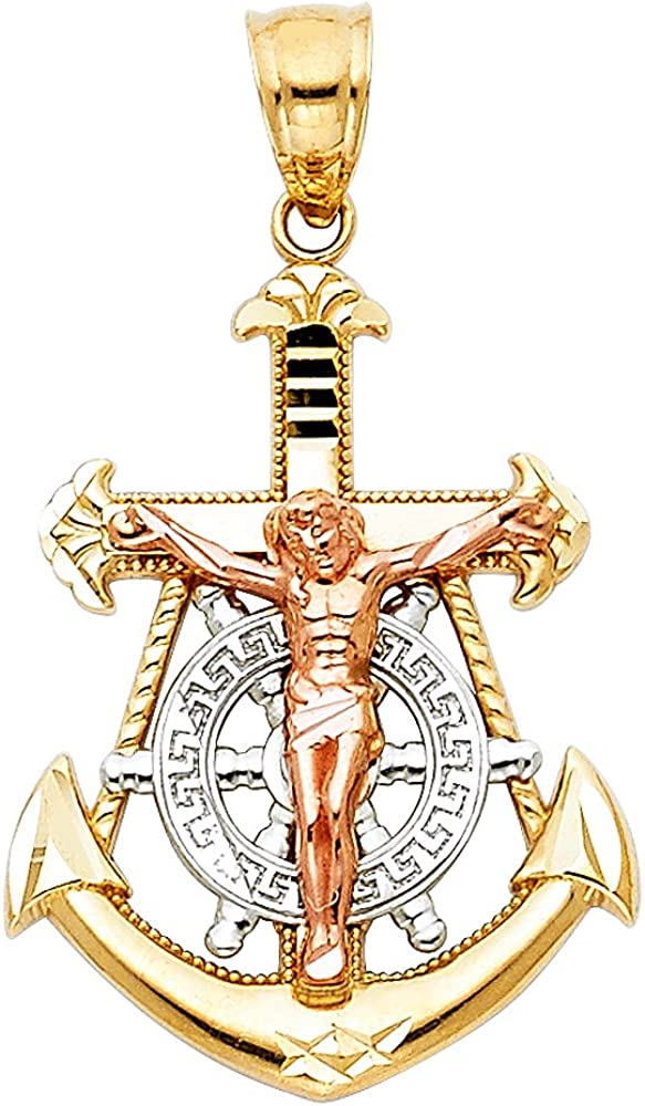 14k Yellow White Rose Gold Jesus Anchor Crucifix Pendant Cross Mariner Charm