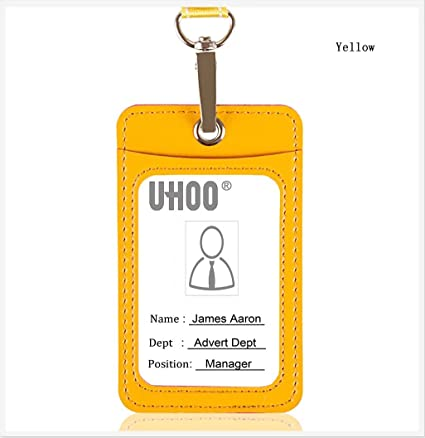 Amazon com : UHOO Badge Holder, Leather Vertical ID Card Holder with