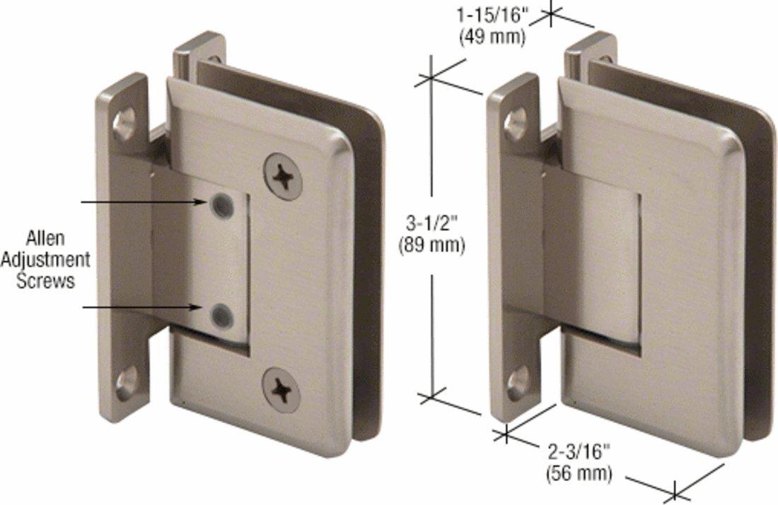 CRL Pinnacle 337 Series Brushed Nickel Adjustable Wall Mount Full Back Plate Hinge