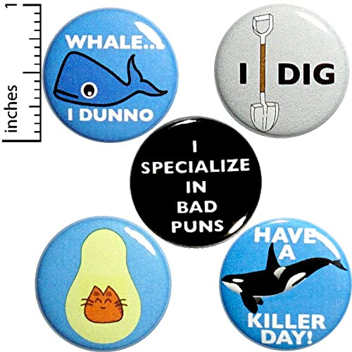 Amazon com: Pun Buttons 5 Pack Backpack Pins Silly Puns