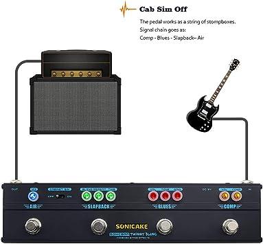 SONICAKE Pedal de Guitarra Twiggy Blues Multiefectos Vintage Blues Retro Rock Tone Dumble Overdrive Compresor Delay Reverb Cab Sim
