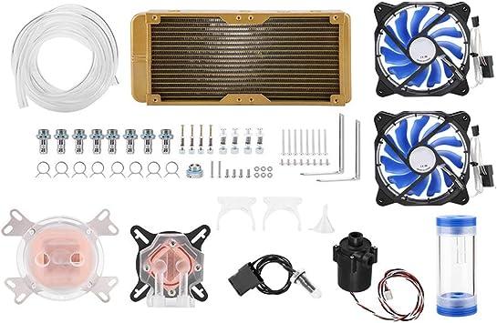 Tonysa Kit Universal de refrigeración líquida, Ventilador LED de radiador de refrigeración por Agua de 240 mm, Tubo de Bricolaje Equipo de refrigeración líquida de ...