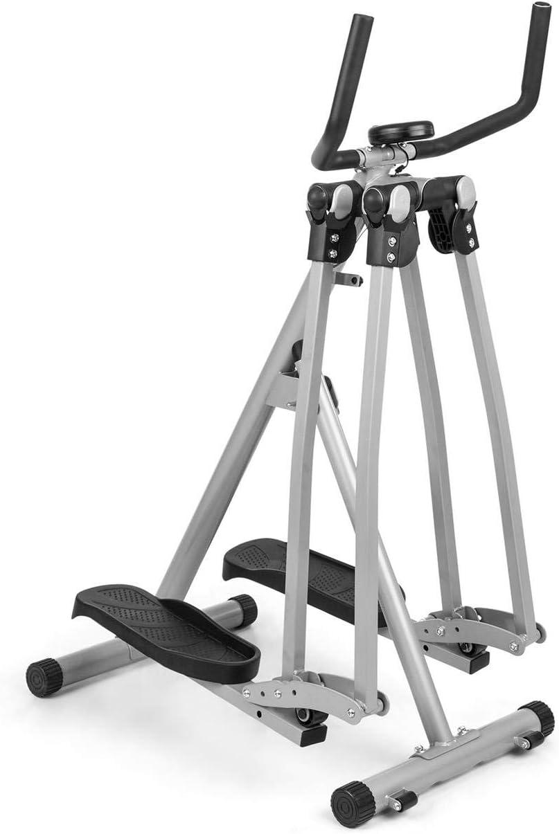 CapitalSports Crosswalker Air-Walker - Bicicleta elíptica, Movimiento Vertical y Horizontal, hasta 100 kg, Ordenador de Entrenamiento, Pantalla LCD, Pasamanos, Antideslizante, Marco metálico
