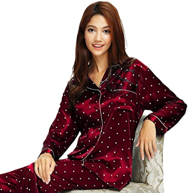 9810ba08d3 Womens Silk Satin Pajamas Set Sleepwear Loungewear XS~3XL Plus at Amazon  Women s Clothing store