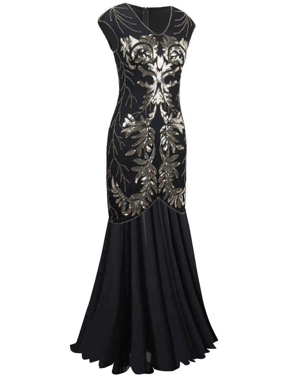 PrettyGuide Women Evening Dress 1920s Ball Gown Black Sequin Flapper ...