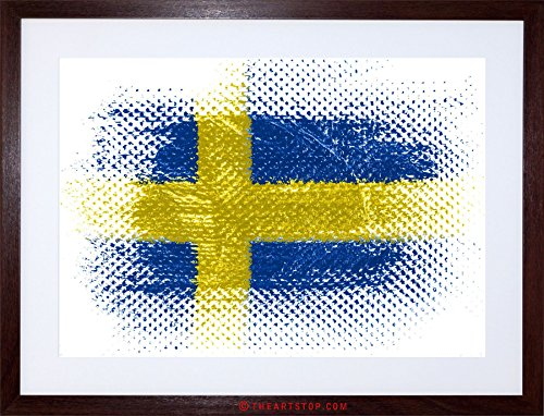 Swedish Flag Framed (FLAG NATIONAL SWEDISH SWEDEN GRUNGE ILLUSTRATION FRAMED PRINT F97X6508)