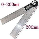 fantasyシンワ測定 デジタル角度計 ステンレス鋼 360度 分度器 20cm 定規 ホールド機能 生活防水