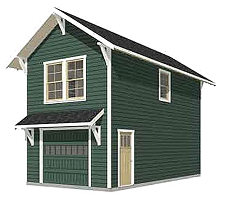 Garage Plans: Craftsman Style One Car Two Story Garage With ...