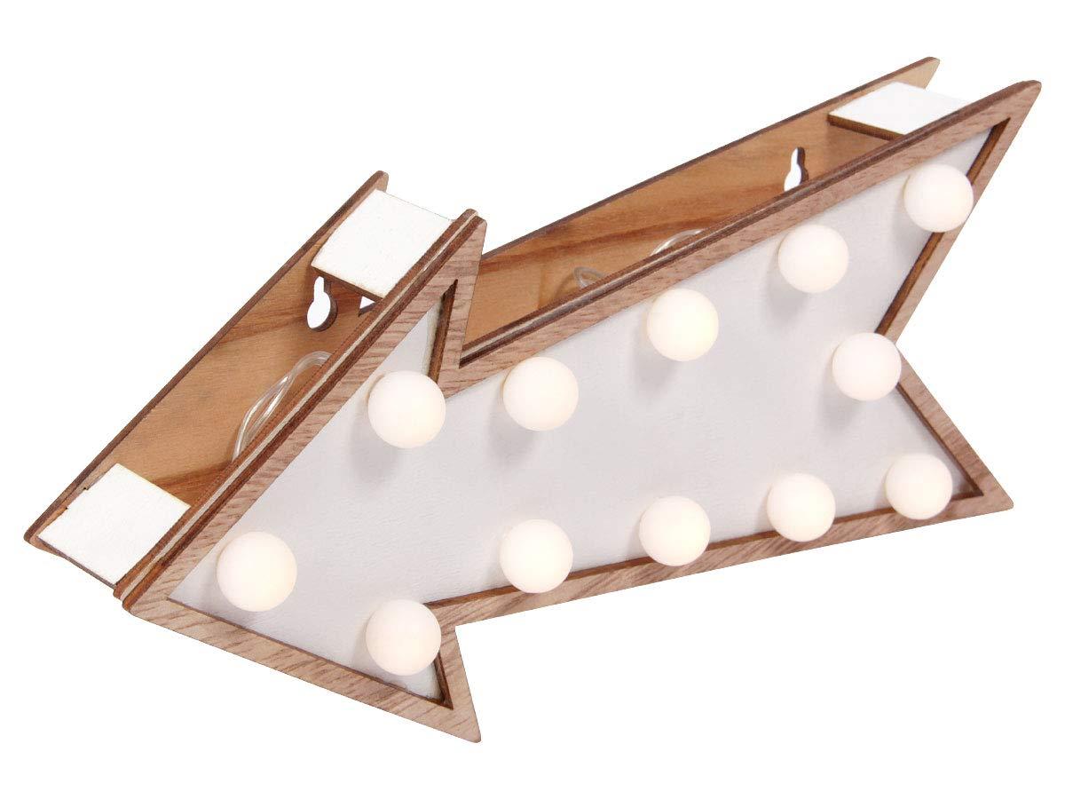 23 x 10 cm batteriebetrieben 3x AAA mit 12 warmwei/ßen LEDs Home Deco Wohnzimmer-Deko von Alsino 220338-2 LED Holz Pfeil ca