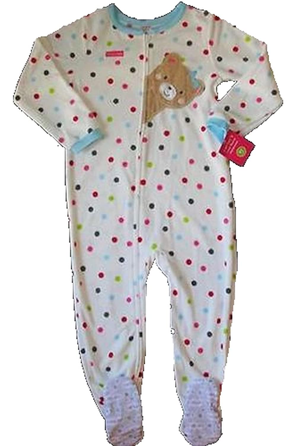 5fa00f65091e CARTER S Girl s Size 4T Fleece Polka Dot Teddy Footed Pajama Sleeper ...
