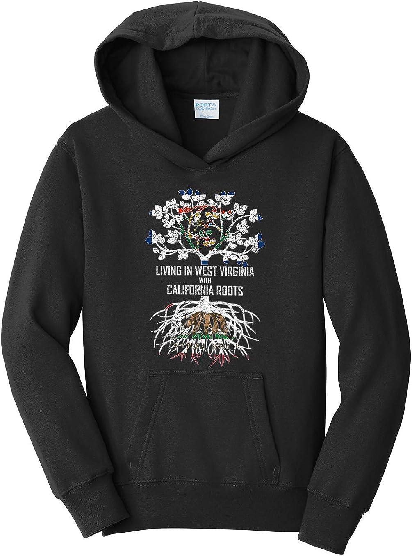 Tenacitee Girls Living in West Virginia with California Roots Hooded Sweatshirt