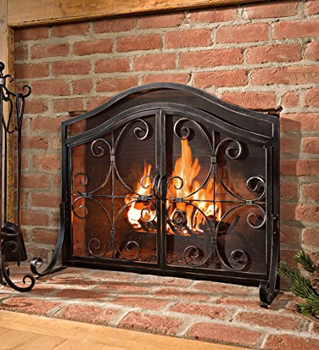 Small Crest Fireplace Screen With Doors Solid Wrought