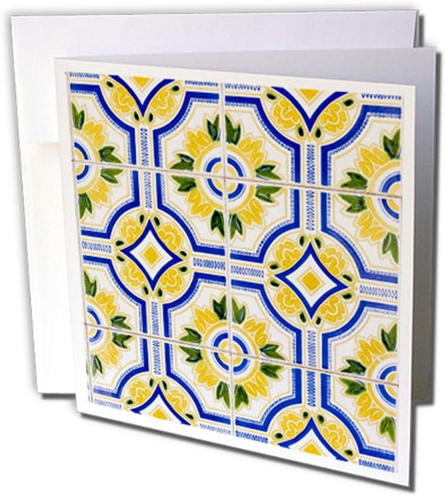 3dRose gc_249444_2 - Juego de 12 tarjetas de felicitación, diseño de Portugal Aveiro azul, amarillo y azulejo, 15,24 x 15,24 cm
