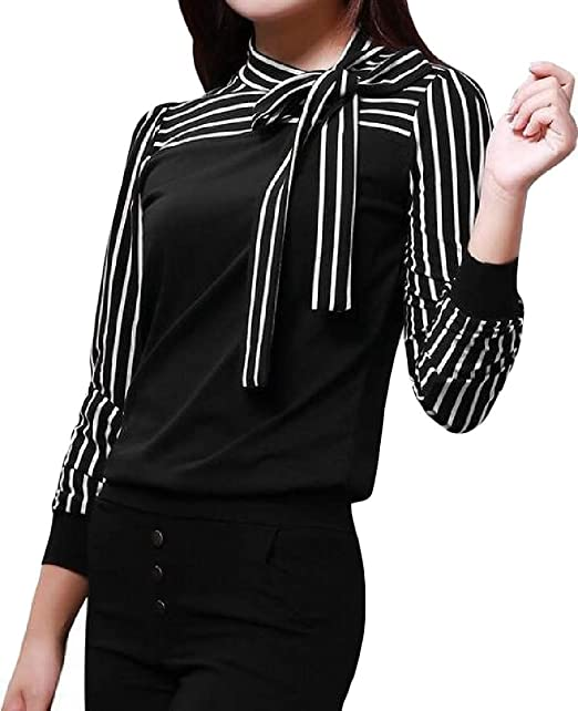 8b26b9bcb5 Sweatwater Women Long Sleeve Bow Striped Mock Neck Top Casual Shirts Black  X-Small