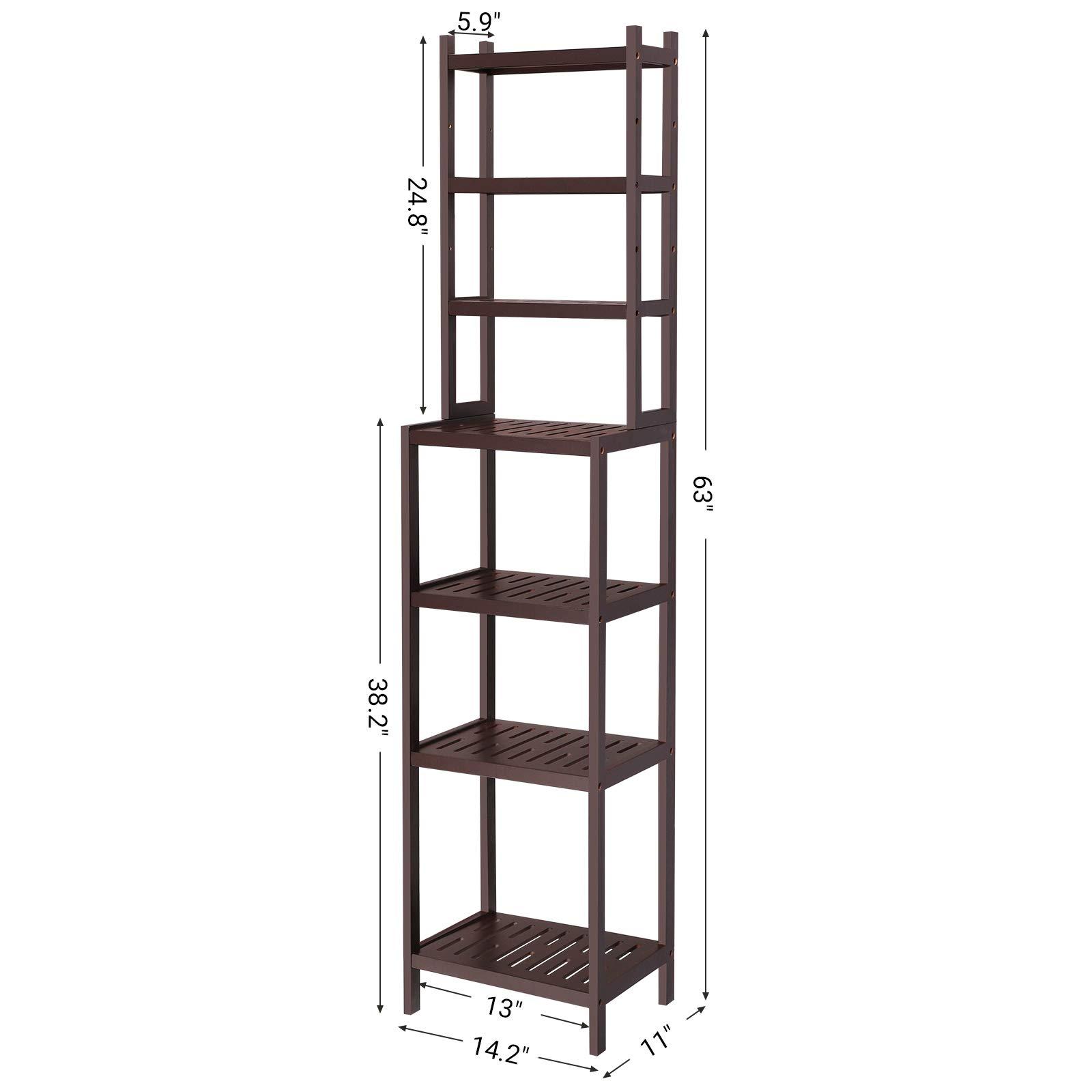 SONGMICS 7-Tier Bamboo Bathroom Shelf, 2-in-1 Design Adjustable Storage Rack, Free Standing Multifunctional Organizer, Shelving Unit for Washroom, Living Room, Kitchen, Brown UBCR01BR by SONGMICS (Image #6)