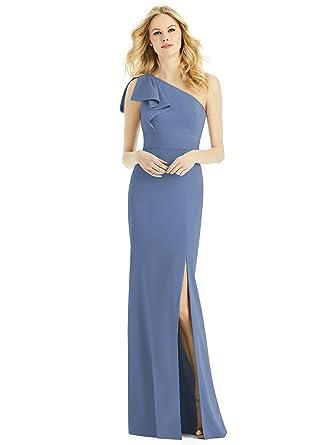 3adba0d0b3 Amazon.com  After Six Style 6769 Floor Length Crepe Trumpet Skirt Formal  Dress - One Shoulder  Clothing