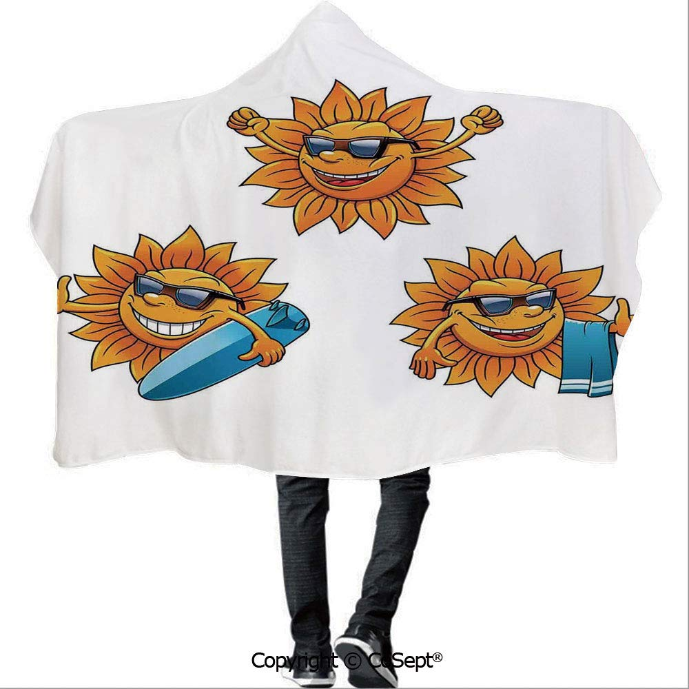 AmaUncle Hooded Blankets,Surf Sun Characters Wearing Shades and Surfboards Fun Hippie Summer Kids Decor Decorative,Unisex All Ages One Size Fits All(59.05x78.74 inch),Orange White