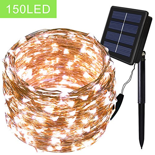 Solar String Lights - Solarmks Outdoor String Lights 150 LED Fairy Lights Waterproof White Copper Wire Lights,Ambiance lighting for Patio,Lawn,Xmas Tree,Christmas,Garden Decorations