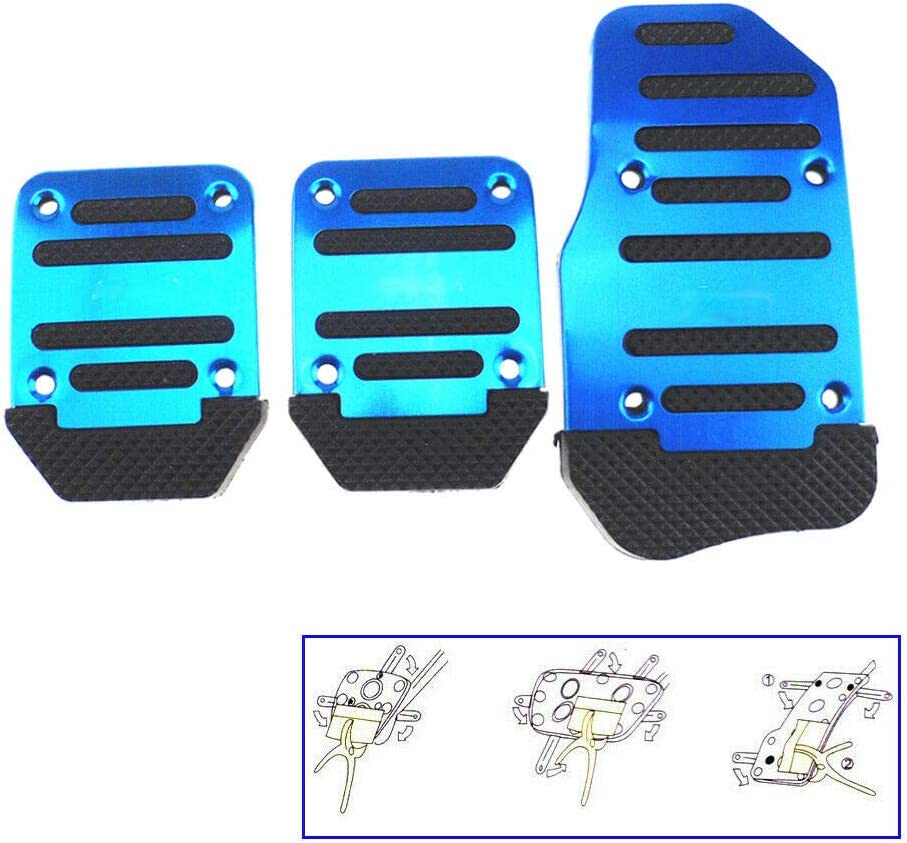 Car Brake Pedal Pad Car Clutch Pads 2PCS Non Slip Gas Pedal Pad Footrest Protector Foot Pedals Rest Plate Kits for Car Vehicle Trunk Blue