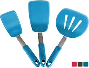 StarPack Premium Flexible Silicone Turner Spatula Set of 3 - High Heat Resistant to 600°F, Hygienic One Piece Design, Non Stick Rubber Kitchen Utensils for Fish, Eggs, Pancakes & Cookies (Teal Blue)