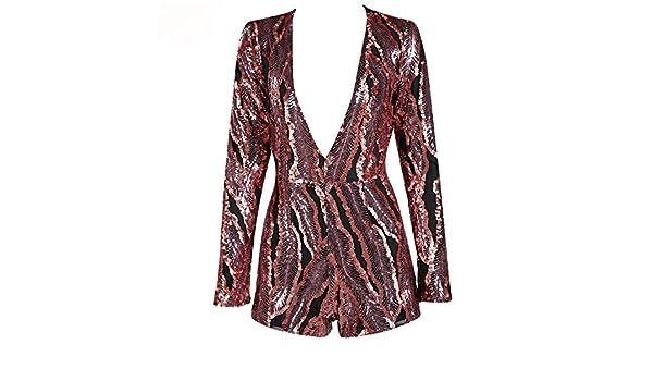 4e8b399803 Amazon.com  Daniig New Sexy Deep-V Long Sleeve Sequin Playsuit  Clothing