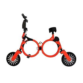 Bicicleta eléctrica plegable con batería recargable de litio 48V (NARANJA), Patinete eléctrico plegable