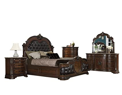 Aosta 5 Piece Marble Top California King Bedroom Set In Warm Cherry   Bed, 2