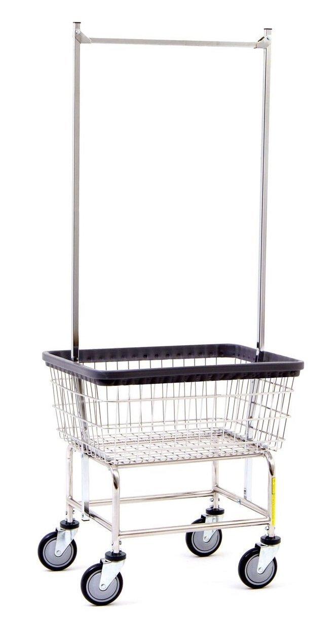 R&B Wire 100E58 Wire Laundry Cart with Double Pole Rack, 2.5 Bushel, Chrome