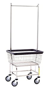 R&B Wire 100E58 Wire Laundry Cart with Double Pole Rack, 2.5 Bushel, Chrome