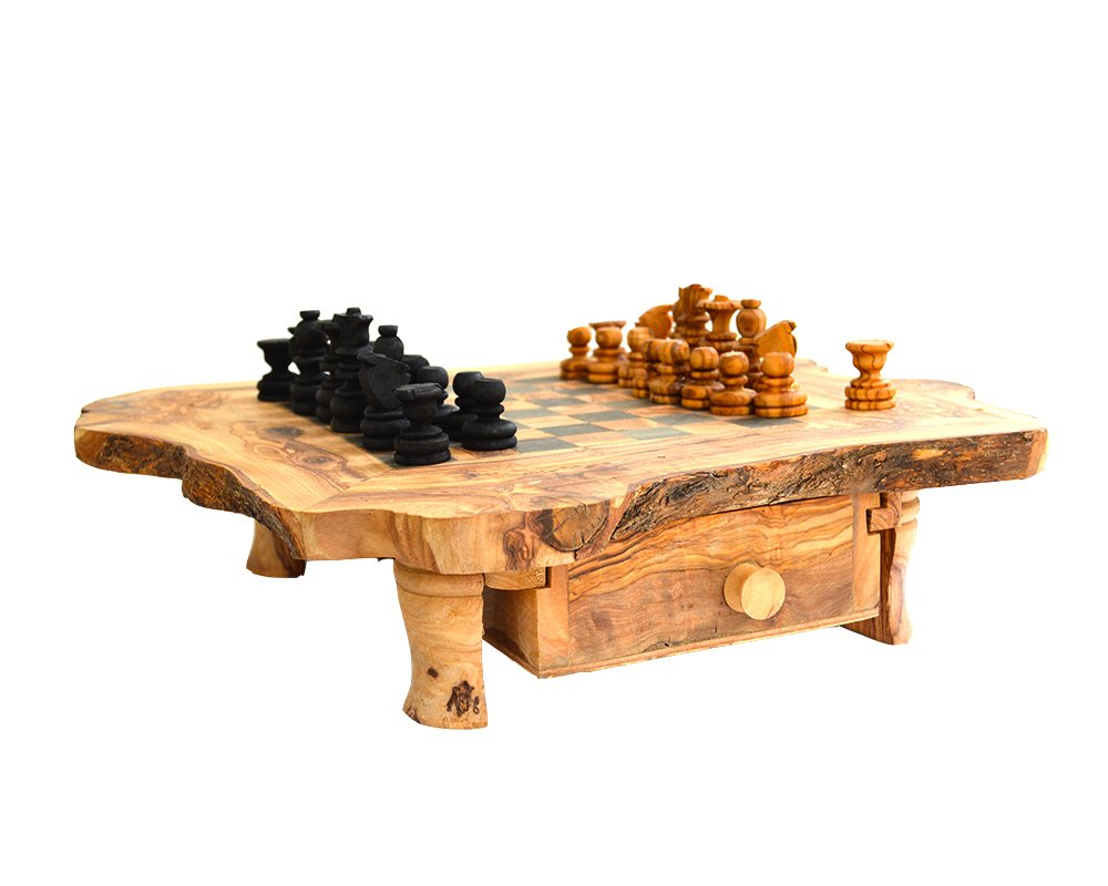 Olive Wood Rustic Chess Set - 40cm Naturally Med