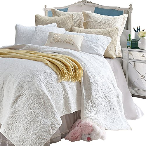 - Brandream White Beige Vintage Floral Comforter Set Queen Size Bed Quilt Set (White Paisley)