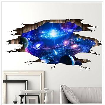 3D Wandaufkleber,Wandtattoo Weltraum Poster Galaxis Tapete Abnehmbar PVC  Wandgemälde Selbstklebend 3d Effekt Wallpaper Für