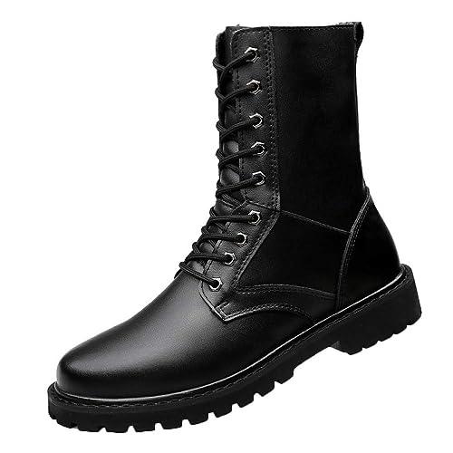 Botas Martin De Cuero para Hombre Botines Chukka Botines Tácticos Militares Botas Casuales para La Nieve Botas De Trabajo Alta Ayuda Zapatos con Cordones: ...