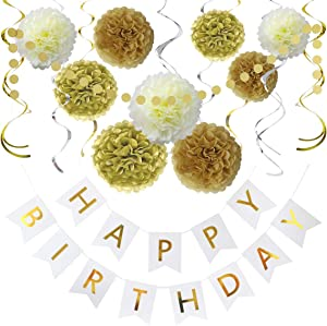 Litaus Birthday Decorations, Gold and White Happy Birthday Decorations for Women -Serves 4- Happy Birthday Banner, Hanging Swirls, Paper Garland and Flowers for Kids Dini Party, Party Decorations