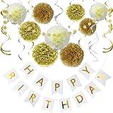 Litaus Birthday Decorations Chic White and Gold Birthday Decorations