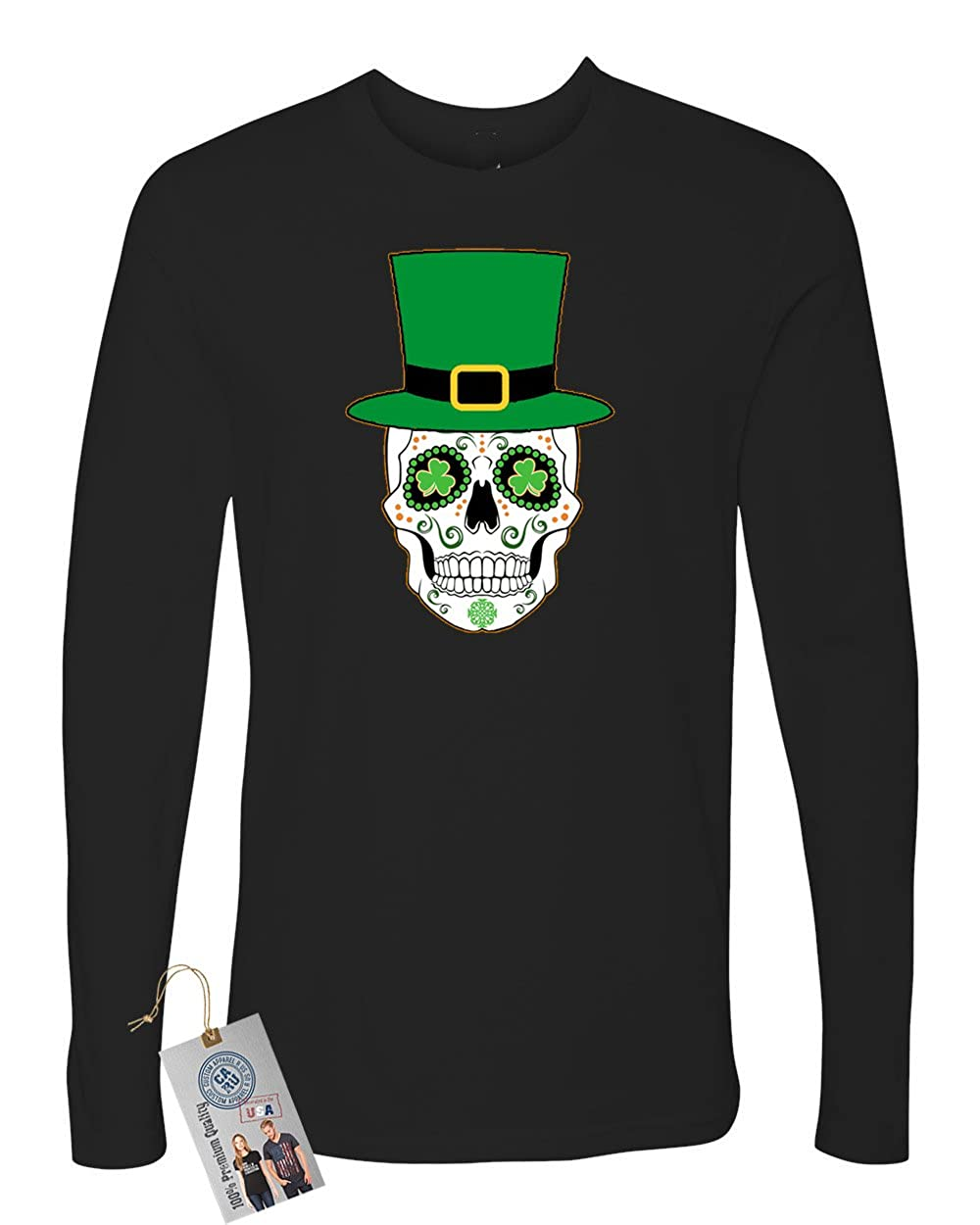 St Patricks Skull Clover Mens Long Sleeve