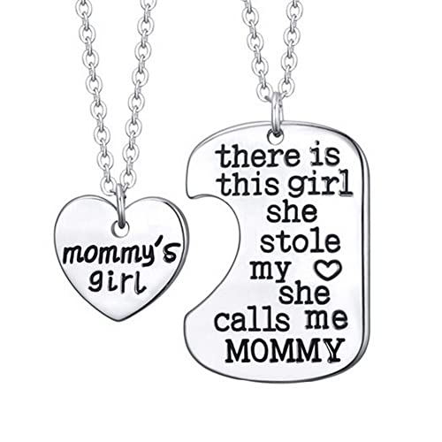 Luvalti Mommys Girl Stainless Steel Heart Pendant Necklace Mother Daughter Necklace Set Best