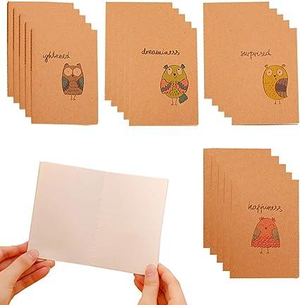 Shulaner Mini Cuaderno Paginas en blanco Extra Small Cute Notebook Cuaderno pequeño Pack de 20 - Búho: Amazon.es: Oficina y papelería