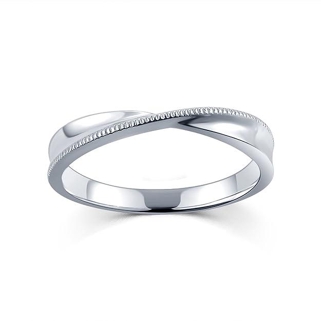 18 ct Oro Blanco Anillo de compromiso, boda, pareja entrelazadas para hombres, tamaño O1/2: Amazon.es: Joyería