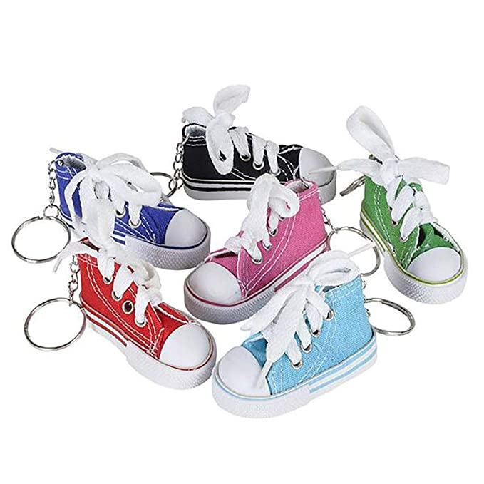 Kicko 3 Inch Sneaker Keychain - 12 Pack Mini Backpack Hook for Travelers - Keyring for Bag and Belt Loop Accessory, Back to School Item, Arts and ...
