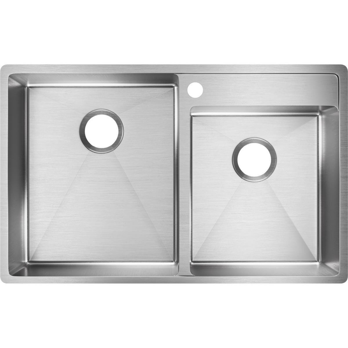 Elkay Crosstown ECTRUD31199R1 Offset Double Bowl Undermount Stainless Steel Kitchen Sink with Water Deck