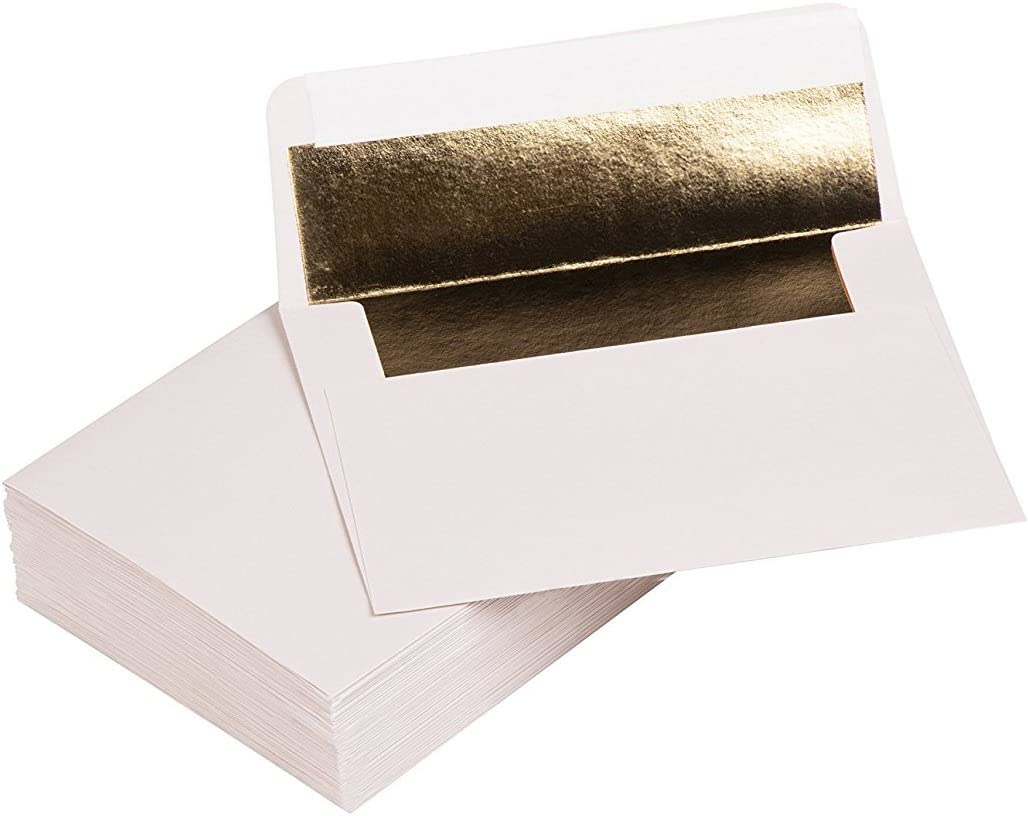 White Birthday 120gsm Paper Graduation 50-Pack Square Flap Invitation Envelopes for Invitation Announcements A1 Bronze Foil Lined Envelopes for Wedding RSVP 3.6 x 5.1 Inches