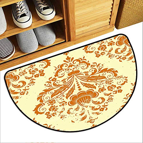 Colorful Semi-Circular Floor Mats Vector Vintage Damask Seamless Pattern Element Grunge Print Style Grunge for Wallpapers Indoor Door Mat W35xH23 INCH ()