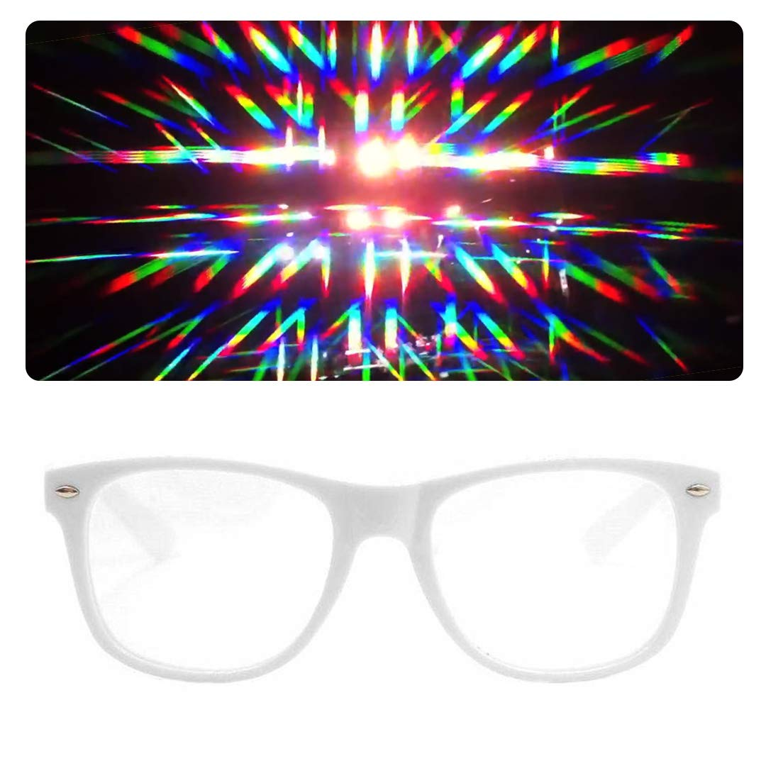 62ef3031a1b Amazon.com  EmazingLights Diffraction Prism Rave Glasses (Black)  Clothing