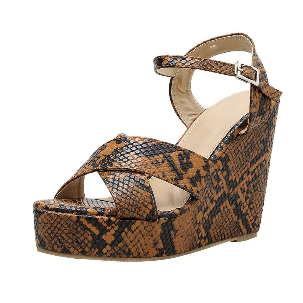 Orangeskycn Women High Heel Leopard Print Sandals Wedge Pumps Buckle Strap Waterproof Platform Shoes Peep Toe Shoes