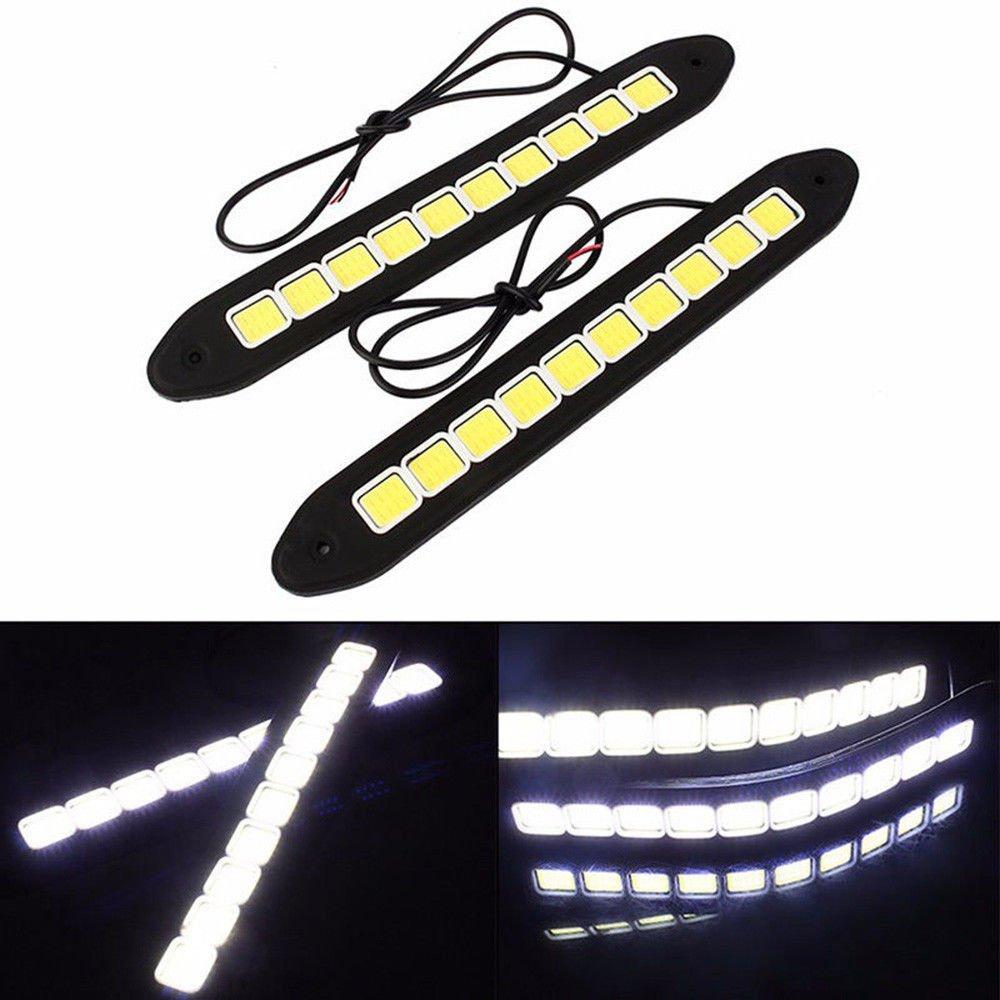 XuBa Waterproof 20W LED 12V Daytime Running Light DRL COB Strip Lamp Fog Car Wave Type