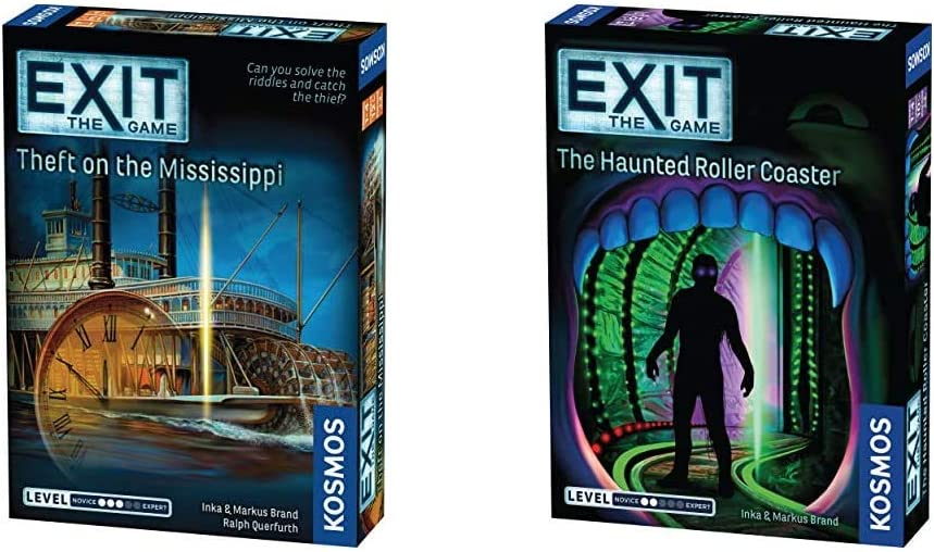 Thames & Kosmos EXIT: Theft on The Mississippi | Escape Room Game in a Box| EXIT: The Game – A Kosmos Game & Exit: The Haunted Roller Coaster | Exit: The Game - A Kosmos Game from Thames & Kosmos